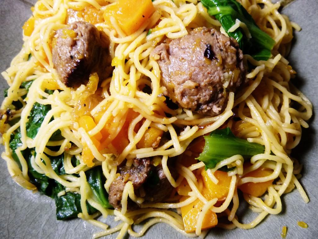 butternut sausage turnip greens noodle