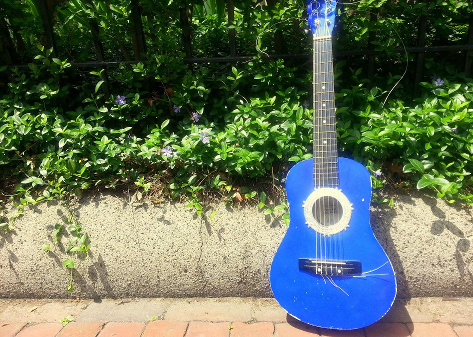 This random blue guitar on the street of Cambridge seems fitting with this post